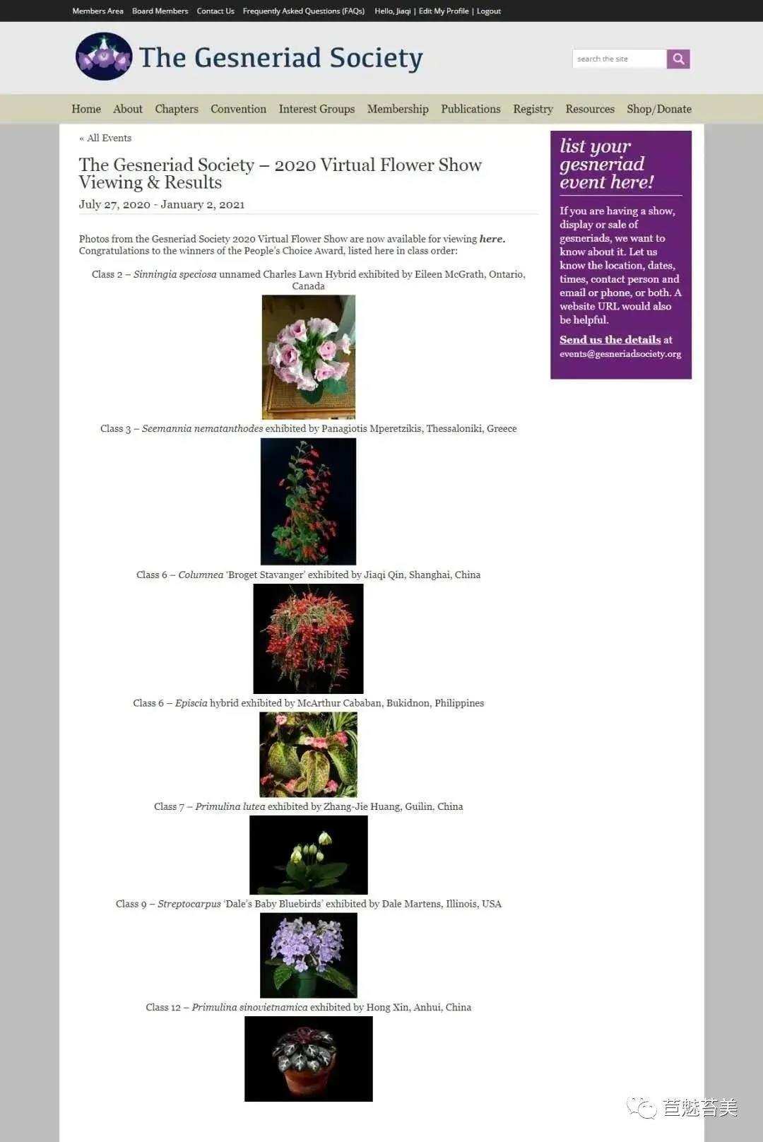 Three Winners from GCCC in The Gesneriad Society 2020 Virtual Flower Show